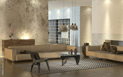 Living Room Leather on Foto  Modern Living Room With Light Leather Sofas And Design Furniture