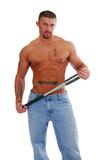 A shirtless muscular man holding a baseball bat poster
