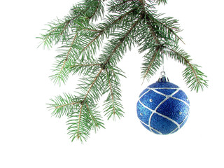 Blue Christmas ball on a white background
