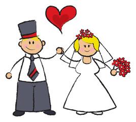 cartoon illustration of a wedding couple in fair skin tone