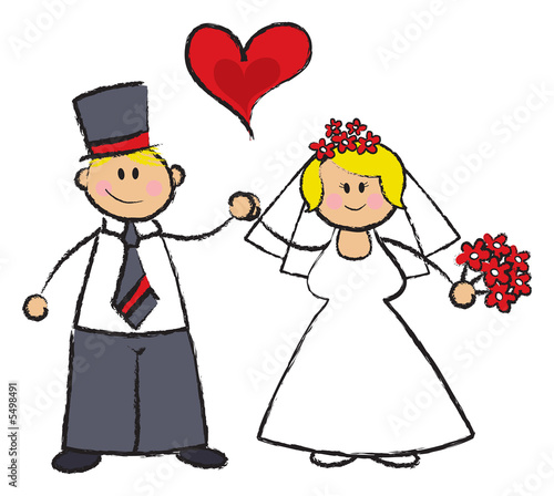 cartoon illustration of a wedding couple in fair skin tone
