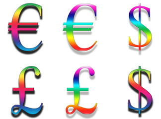 financial symbols in Rainbow colours