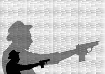 male pointing gun