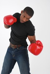 Boxer model with red gloves