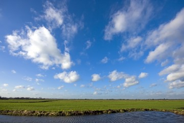Typical dutch landscape: water, green fields and a wide view