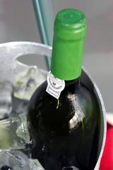 wine bottle on ice chiller