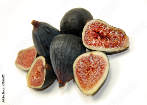 organic black mission figs, isolated on white.