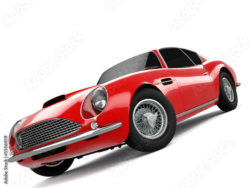 Red Classical Sports Car Poster