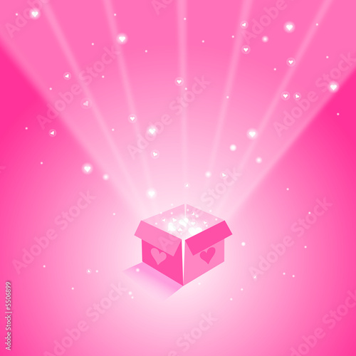 magic box with flying hearts on pink background