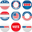 Set of 9 election campaign badges