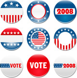 Set of 9 election campaign badges poster