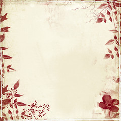 grunge with flower&foliage border