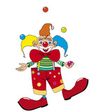 Clown juggling with balls poster