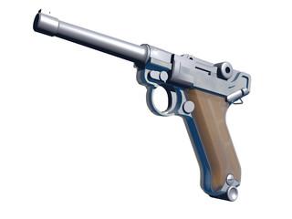 Pistola sobre Fondo Blanco