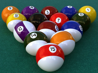 a 3d composition of the billiards game