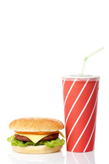 Cheeseburger and soda drink, reflected on white background