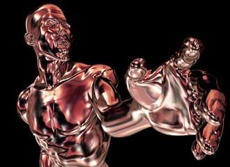Kupfer-Mann zeigt mit der Hand