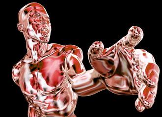 Muskelmann zeigt mit dem Finger