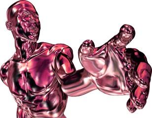 Rot-metallic Mann zeigt auf etwas