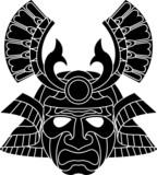 Monochrome samurai mask poster
