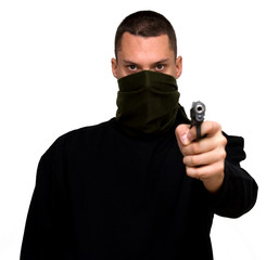 criminal theme - gangster with a gun studio isolated