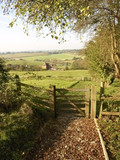 A gate and footpath on the monarchs way long distance  poster