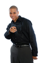 Young African American Male pointing