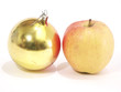 Christmas-tree decorations and apple