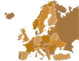 Carte Europe Camaieu Marron poster