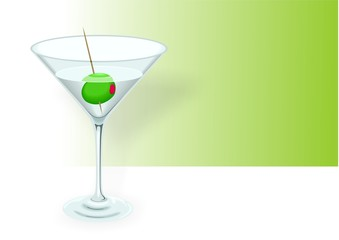 Tropical cocktail - illustration of martini glass with olive