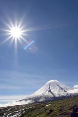 Kluchevskoy volcano and sun