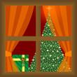 arbol de navidad y regalos a través de la ventana