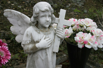 Angel statuary in a cematary