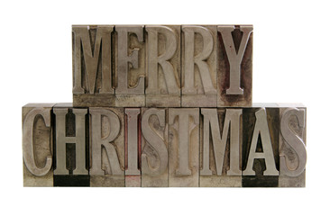 merry christmas in metal type