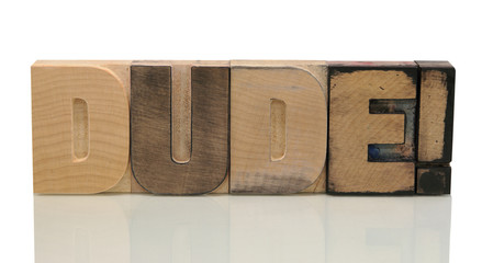 dude in letterpress wood type