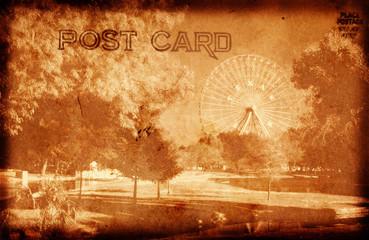 Vintage Style Grunge Postcard With Amusement Park