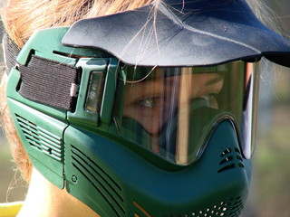 paintballer with protective mask