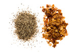 crushed red pepper beside ground black pepper poster
