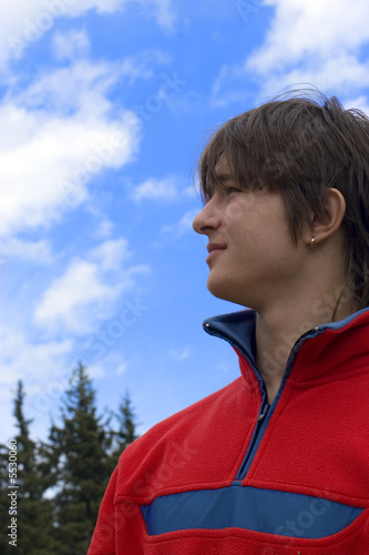 Pretty  European teens boy in red sport pullover