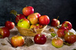 Still life with apples on a sacking