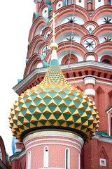 Many-colored cupolas of Pokrovskiy of the cathedral