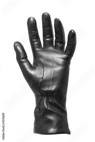 Black glove - keep/get gesture - isolated on white
