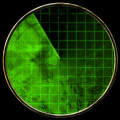 Green radar screen on black