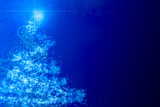 Abstract blue christmas tree with sparkles poster