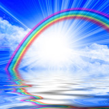 Sunlight in a clear blue sky with rainbow poster