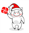happy pig and gift