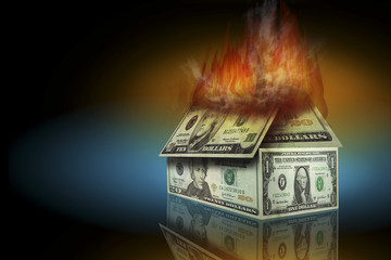 Dollar bills burning in the form of a house