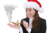 A pretty woman making Christmas wishes with a genie lamp poster