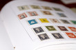 Old Dutch stamps in album.  A few in focus the rest unfocussed
