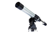 Image of an isolated silver and black telescope. poster